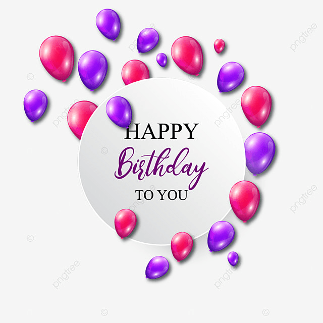Birthday Card With Colored Balloons Ball Birthday Symbol Png And