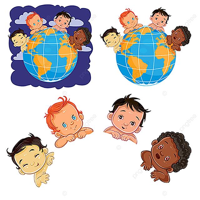 Los Niños Pequeños Con Diferentes Vectores De Color De La Piel ...