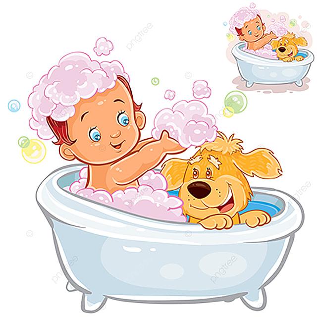 Vector Bebe Prend Un Bain Et Jouer Avec De La Mousse Avec Son Bain