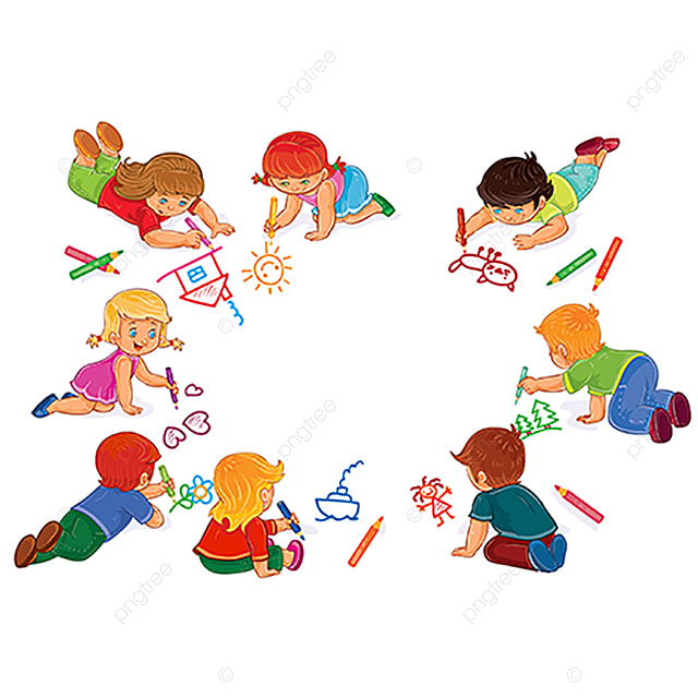 Vector Niños Y Niñas Dibujar Con Lápices De Colores Bebe Pequeño ...