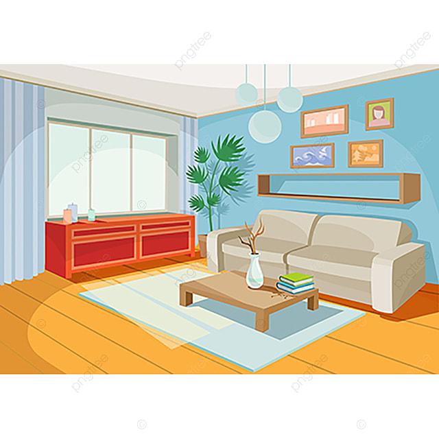 Cozy Living Room Vector Illustration: Vector Illustration Of A Cozy Cartoon Interior Of A Home