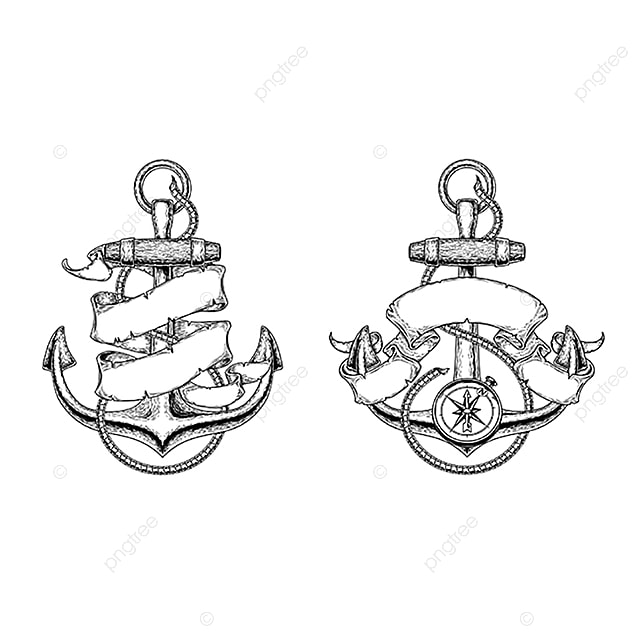 Vector Illustrations Of Nautical Anchors With Ribbon Anchor Tattoo