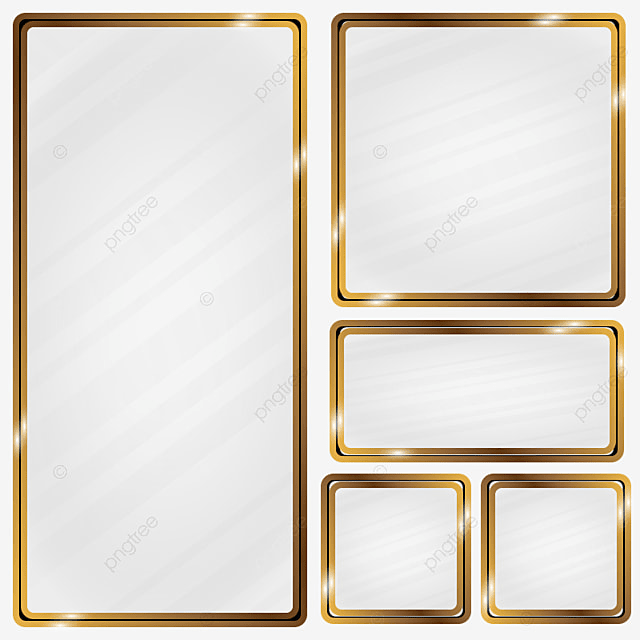 Golden Metallic Frame Glass Effect Frame Gold Metal Png And