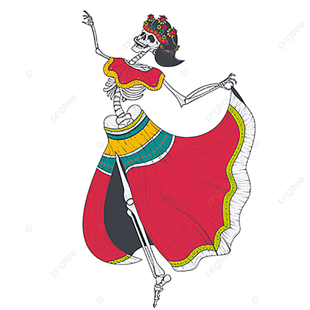 Dancing Female Skeleton Vector, Woman, Dead, Death PNG and ...