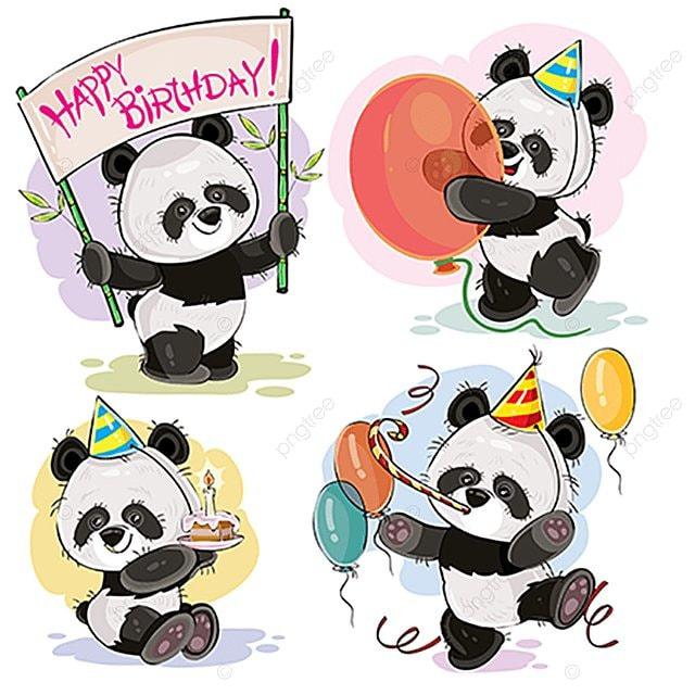 Joyeux Anniversaire Vector Avec Bébé Panda Panda Bear Bébé Mignon
