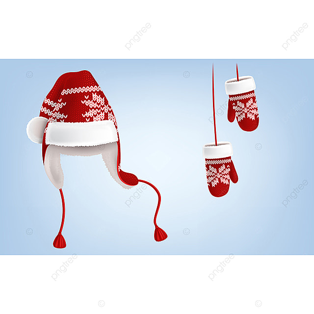 Vector Knitted Santa Hat And Mittens With Pattern Santa Hat Cap