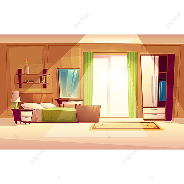 Vector Cartoon Illustration Of A Bedroom Interior, Bedroom