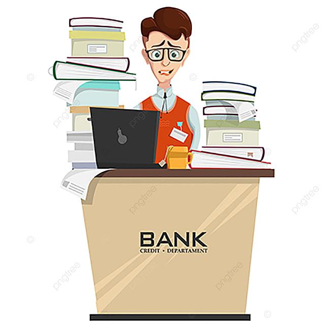 Vektor Konzept Der Bankkaufmann Mit Viel Arbeit Viel Arbeit Frist