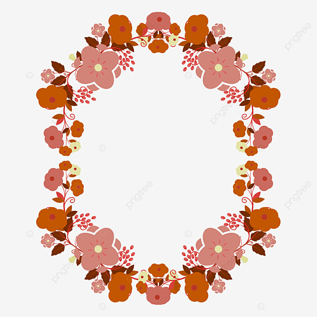 floral vector frame with beautiful vector flower handmade