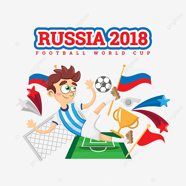 fe1858e854c Soccer Player Surrounded By Soccer Elements Russia 2018 World Cup ...