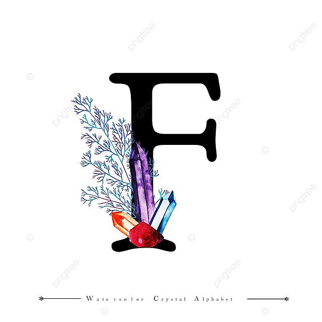 Letra F Con Acuarela Cristal Y Hojas De Fondo Acuarela Color Pintado ...