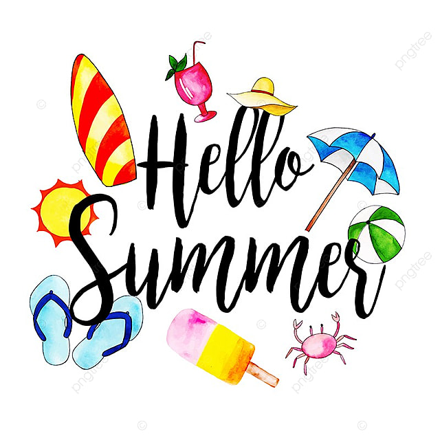 Beautiful Background Of The Word Hello Summer With Watercolor ...