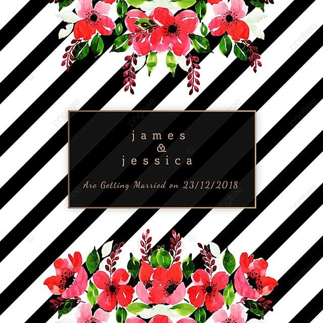 Aguarela floral convite de Casamento com padrão de listras Livre PNG e Vetor 060a20d056