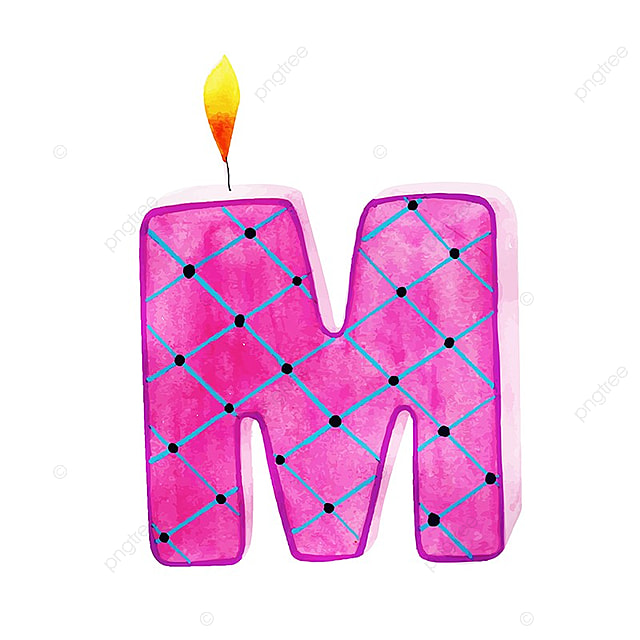 Watercolor Happy Birthday Letter M Candle Color Colorful PNG And Vector