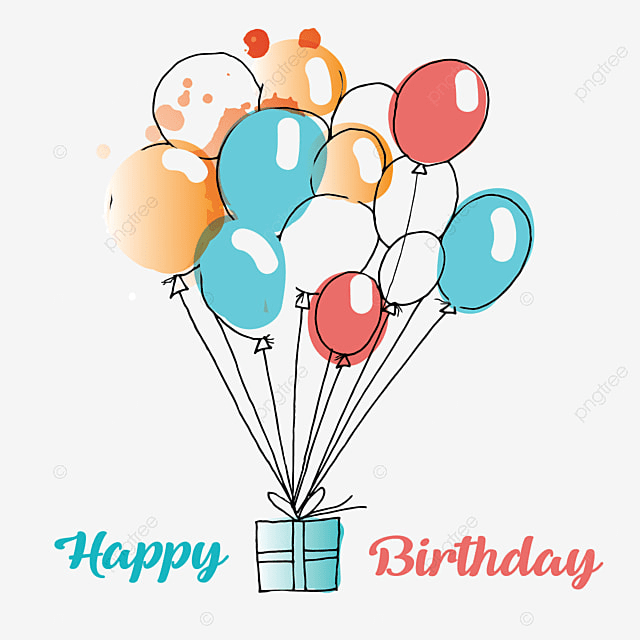 Colorful Birthday Gift Balloons Flying Theme Party Box PNG And Vector