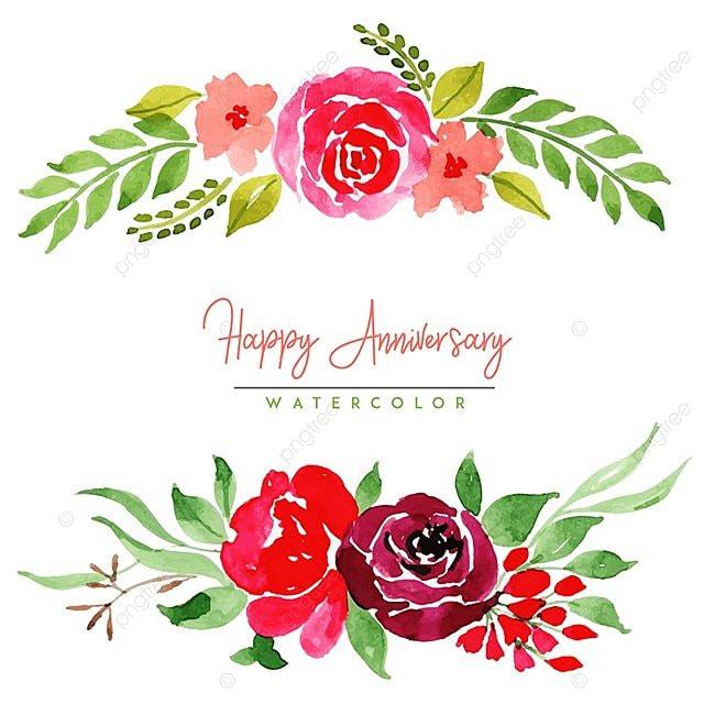 Watercolor Floral Happy Anniversary Background Watercolor Color