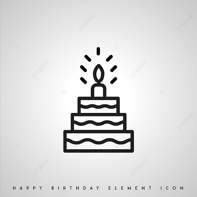 Black And White Birthday Icons Icon Birthday Cake Png And Vector