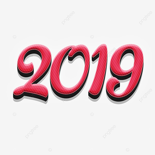 2019 Stylist Pink Text Effects, 2019, New Year, Text Effect PNG