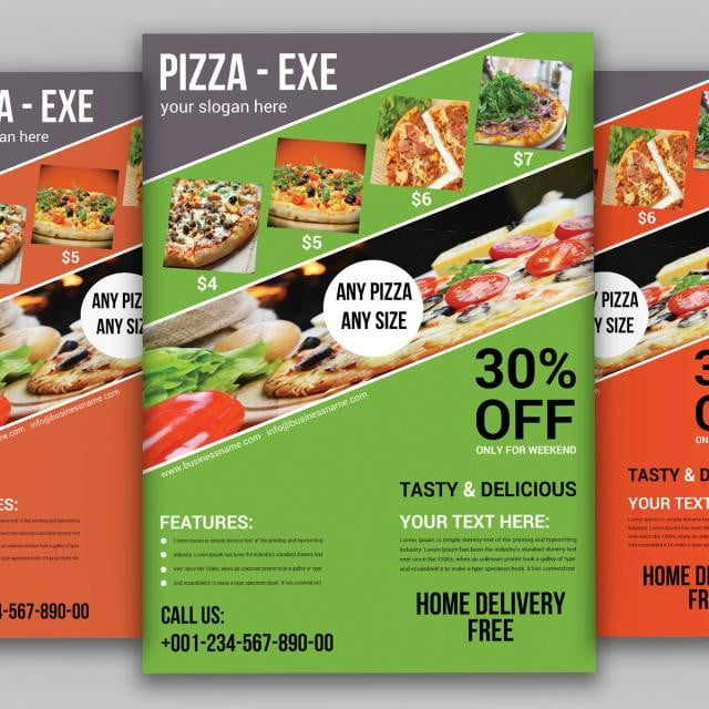 pizza flyer template business delicious menu fast food png and