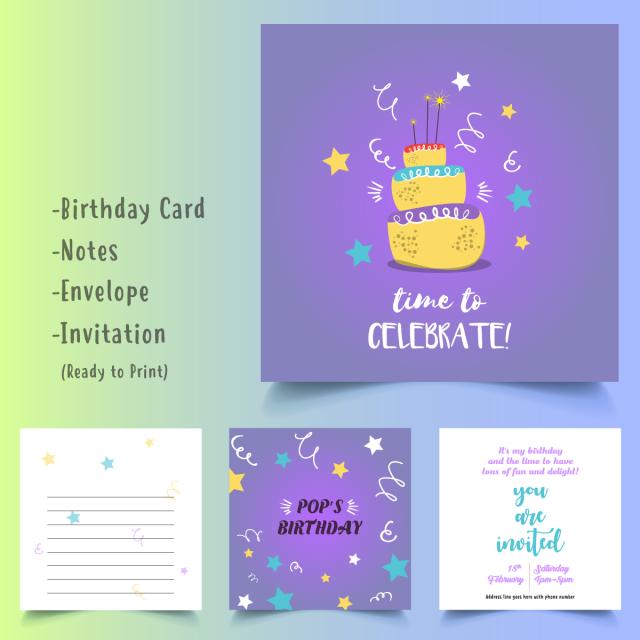 Happy Birthday Cake Karte Gesetzt Vorlage Zum Kostenlosen Download