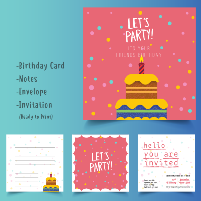 Happy Birthday Cake Card Set Template For Free Download On Pngtree