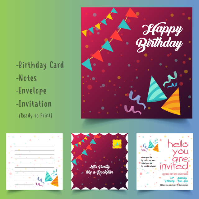 Happy Birthday Card Set Template