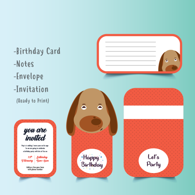 Cute Dog Birthday Card Set Red Dogs Template