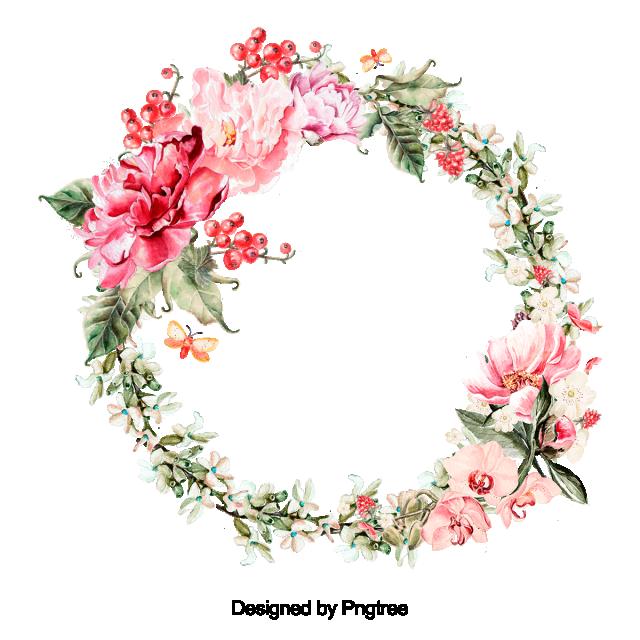 Belle Fleur Couronne Avec Feuilles Libres Vector Conception Fleur