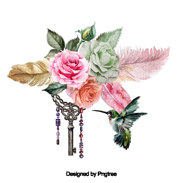 Beautiful Hand Paint Watercolor Rose Flower, Flower