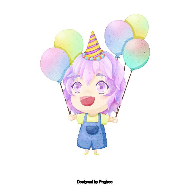 Adorable Enfant Avec Ballon Joyeux Anniversaire Joyeux Anniversaire