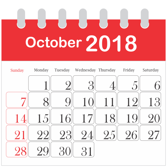 Month Calendar 2018 October, 2018, PNG Image and Clipart ...