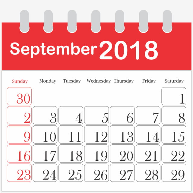 Month Calendar 2018 September, 2018, PNG Image and Clipart ...