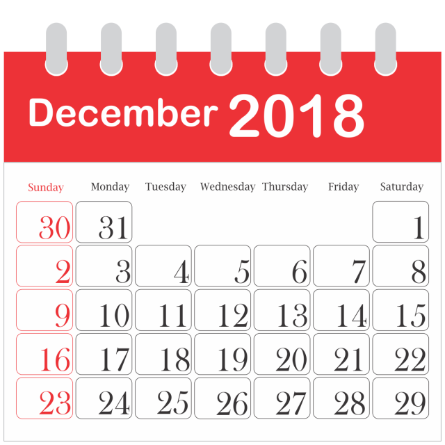 Month Calendar 2018 December 2018 Png Image And Clipart For Free