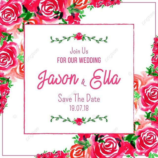 convite de casamento cartão com aquarela rosa feito à mão moldura