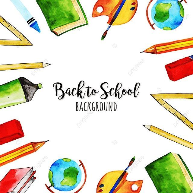 watercolor back to school background  school  back