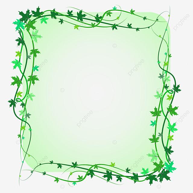 Green hand painted green leaf flower border background png ... |Green Flower Border