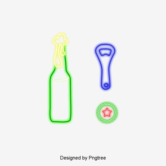 Verano Fresco Bebe Cerveza Dibujos Animados Patron De Neon Cerveza ...