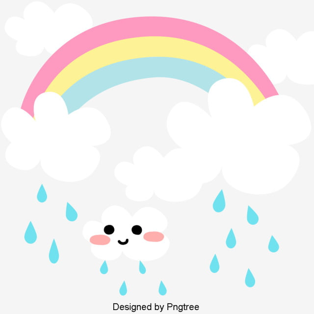 Kartun Tangan Dicat Awan Hujan Yang Indah Awan Titisan