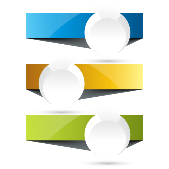 3 Banners With Round Label Template Shape Abstract Collection Png