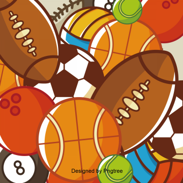 Cartoon hand-painted sports ball, Sports, Ball Games, Cartoons PNG and Vector