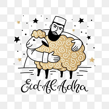 eid al adha festive poster with a man hugging a ram, Png, Islamic, Eid PNG and Vector