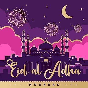eid al adha festive poster with mosque on pink purple background with gold decor, Png, Islamic, Eid PNG and Vector