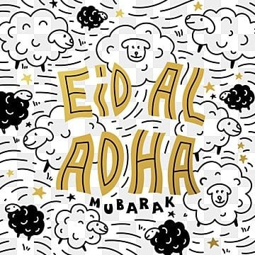 eid al adha holiday poster with hand made gold inscription and sheeps on the  background, Png, Islamic, Eid PNG and Vector