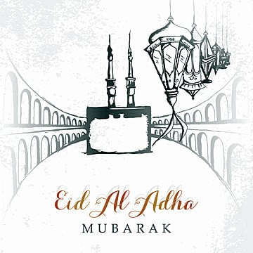 eid al adha greeting design with mecca hand drawn and lantern, Mosque, Islamic, Ramadan PNG and Vector