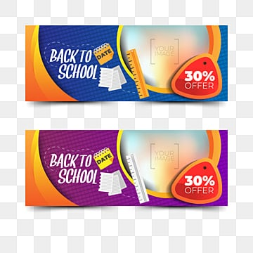 back to school banners collection with elements, Banner, School, Education PNG and Vector