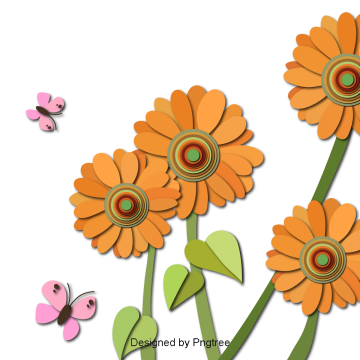 Beautiful cartoon lovely hand painted paper cut flowers autumn sunflower, Beautiful, Cartoon, Lovely PNG and Vector