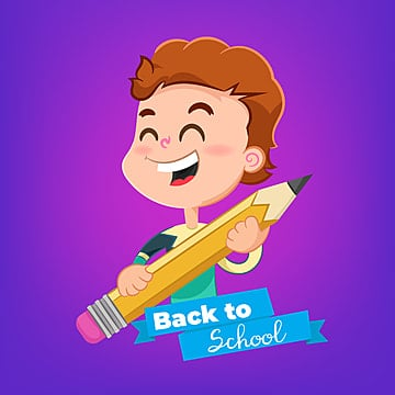 cartoon boy with pencil topic back to school, School, Back To School, Character PNG and Vector