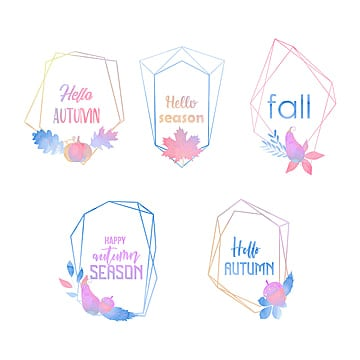 set of geometric autumn frames, Watercolor, Geometric, Autumn PNG and Vector