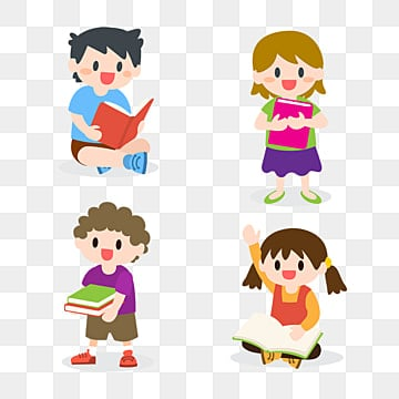 children studying reading books collection illustrationColeccion  Set  Lectura PNG Y Vector