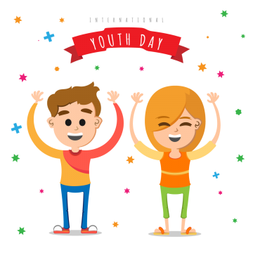 background of friends celebrating the day of youth day, Youth, World, International PNG and Vector